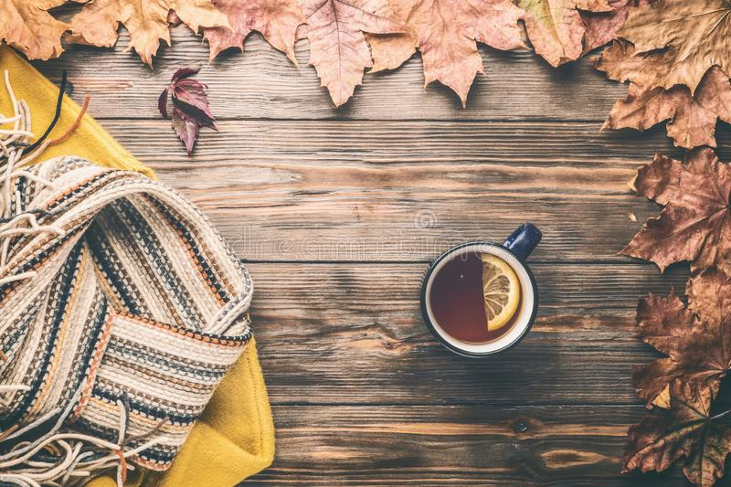 Autumn fashion seasonal concept sweater cardigan Scandinavian knitted scarf cup hot black tea stock images