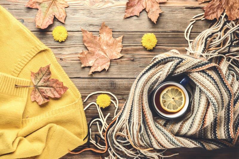 Autumn fashion seasonal concept sweater cardigan Scandinavian knitted scarf cup hot black tea stock photo