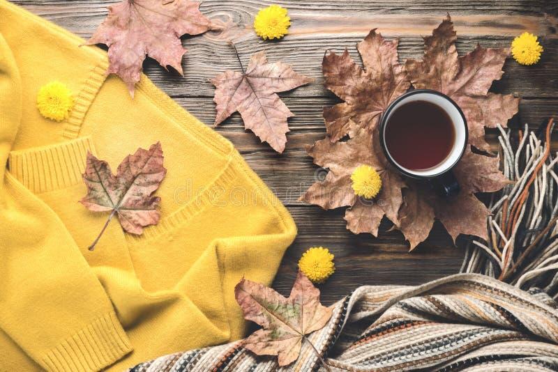 Autumn fashion seasonal concept sweater cardigan Scandinavian knitted scarf cup hot black tea stock image