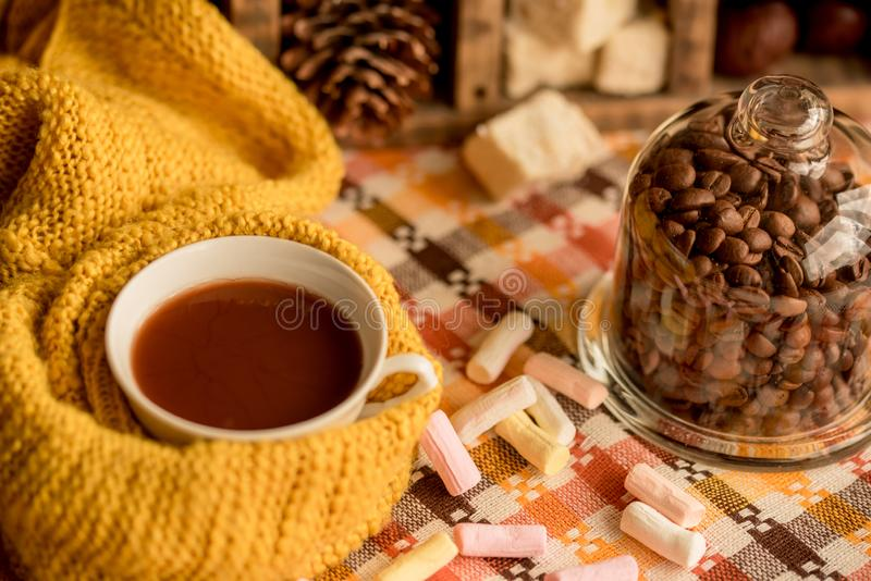 Autumn fashion seasonal concept, yellow warm soft comfortable sweater cardigan Scandinavian knitted scarf cup hot black tea coffee. Fall fallen maple leaves on stock images