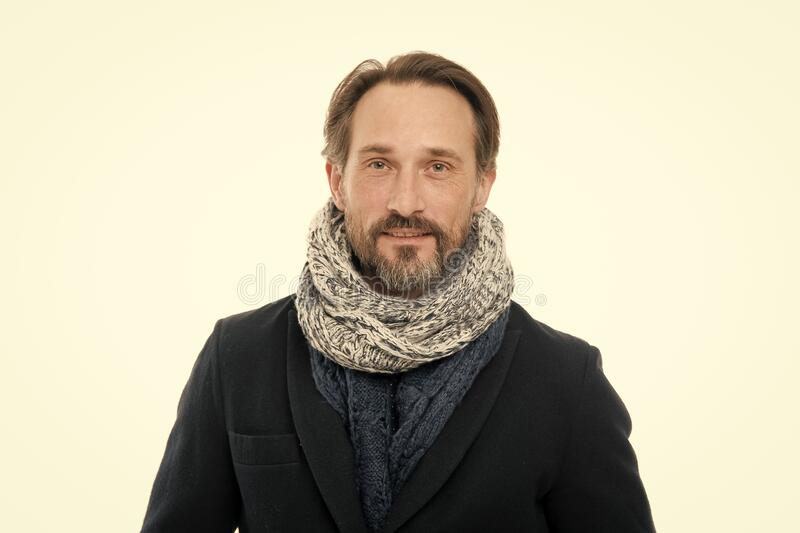 Autumn fashion trends for mature adult. Mature man in autumn fashion style. Mature person with beard isolated on white stock photography