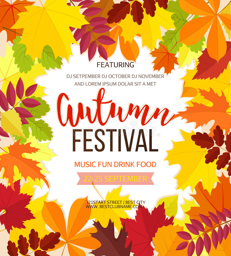 Autumn festival background. Invitation banner with fall leaves. Vector illustration vector illustration