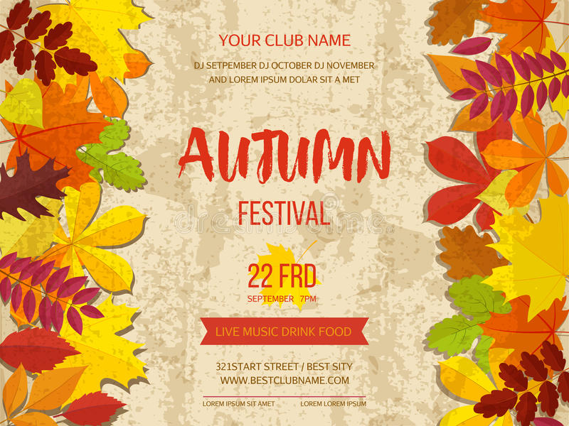 Autumn festival background. Invitation banner with fall leaves. Vector illustration royalty free illustration