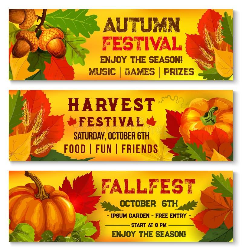 Autumn festival or harvest picnic vector banners. Autumn harvest festival banners for live music fest or October seasonal fall outdoor picnic event. Vector stock illustration