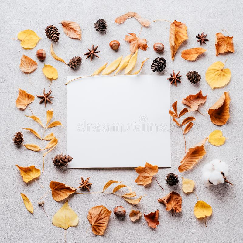 Autumn festive decorations, greeting card mockup. Autumn, thanksgiving day, DIY, holidays preparation and creativity layout. Festive decorations, dried leaves royalty free stock photo