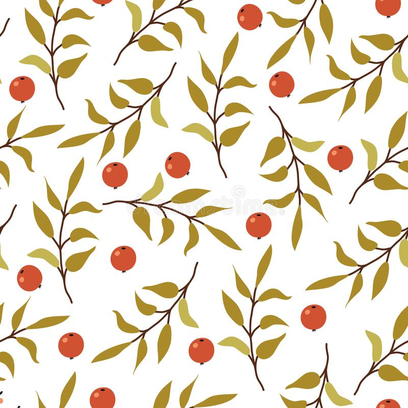 Autumn flat hand drawn seamless pattern. Forest branch with leaves and berries decorative texture on white background royalty free illustration