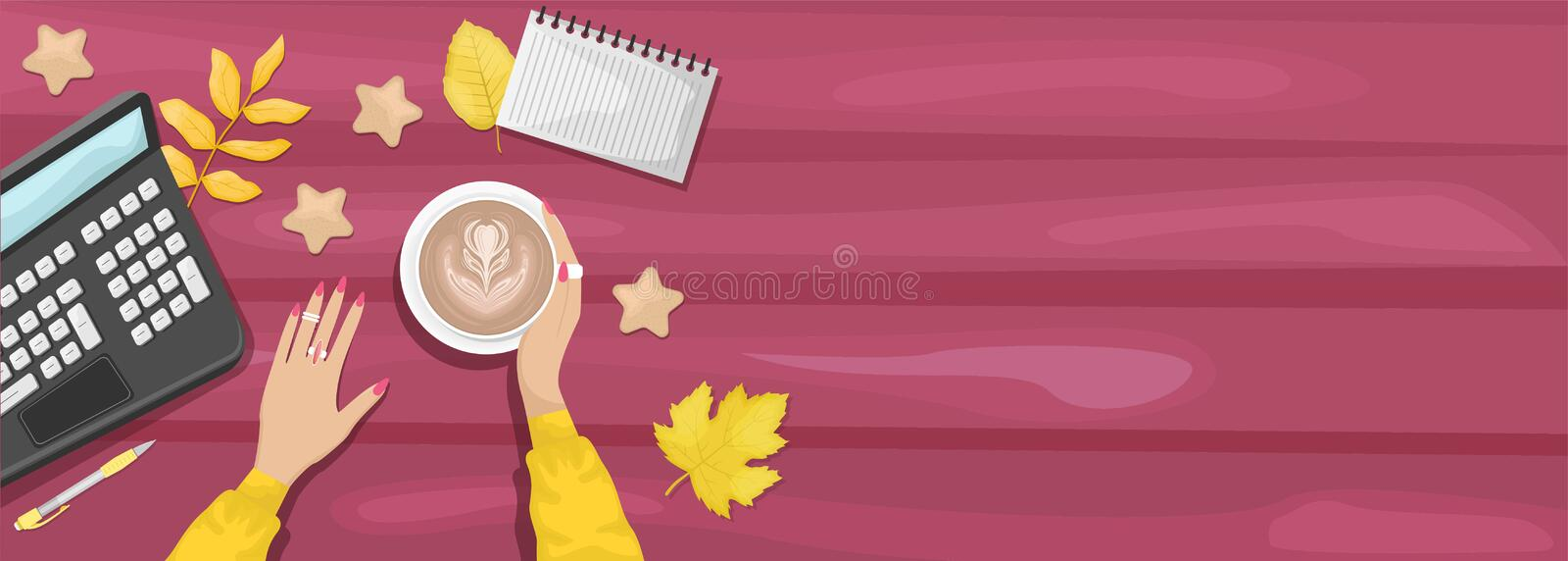Autumn flat lay background with workplace in a cafe. Women`s hands holding a Cup of cappuccino. Burgundy wooden background with. Yellow autumn leaves. Laptop vector illustration