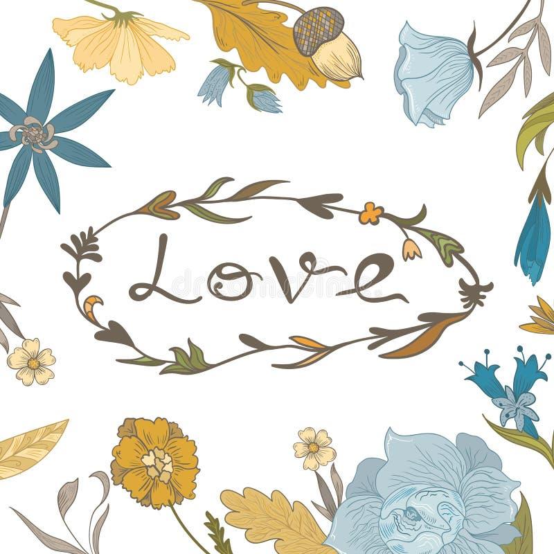 Autumn Floral Frame avec le lettrage d'amour illustration stock