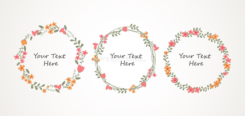 Autumn Floral Frame Collection vektor abbildung