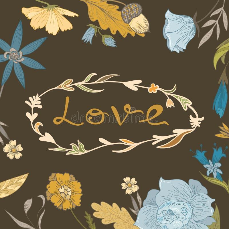 Autumn Floral Frame mit Liebes-Beschriftung lizenzfreie abbildung