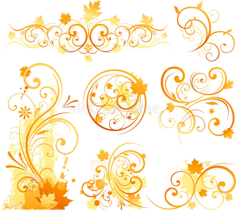 Autumn floral ornament stock illustration