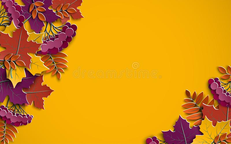 Autumn floral paper background with colorful tree leaves on yellow background, design elements for the fall season banner, poster stock illustration