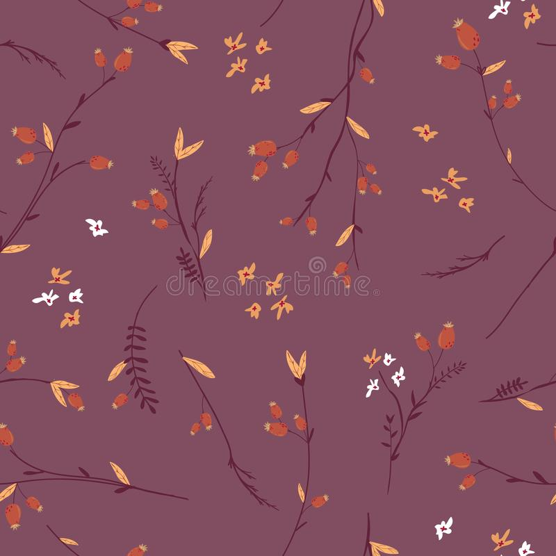 Autumn Floral Seamless Pattern con le foglie ed i fiori Fondo d'annata della natura di caduta per il tessuto, carta da parati illustrazione vettoriale