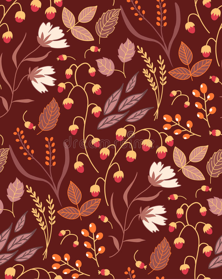 Autumn floral seamless pattern Fall autumn leaves royalty free illustration