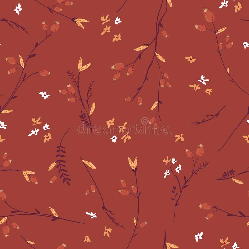 Autumn Floral Seamless Pattern with Leaves and Flowers. Fall Vintage Nature Background for Textile, Wallpaper, Print. Decoration, Wrapping Paper. Vector stock illustration