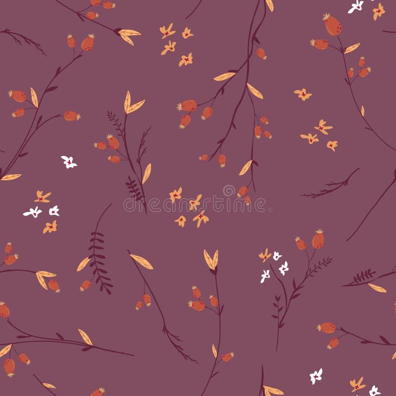 Autumn Floral Seamless Pattern mit Blättern und Blumen Fall-Weinlese-Natur-Hintergrund für Gewebe, Tapete vektor abbildung