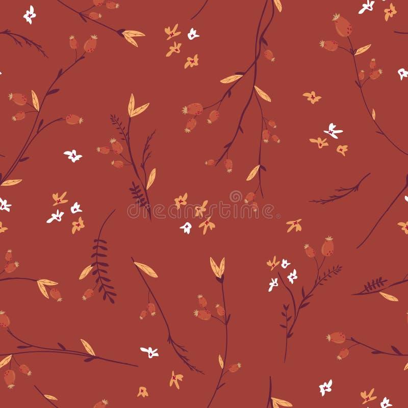 Autumn Floral Seamless Pattern mit Blättern und Blumen Fall-Weinlese-Natur-Hintergrund für Gewebe, Tapete, Druck stock abbildung