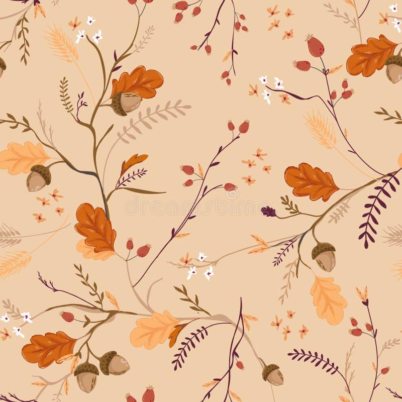 Autumn Floral Seamless Pattern mit Eicheln, Blättern und Blumen Fall-Weinlese-Natur-Hintergrund für Gewebe, Tapete vektor abbildung