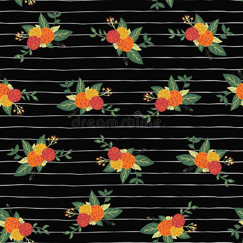 Autumn flower bouquets on black and white stripes seamless vector repeat pattern background. Abstract fall floral design on hand vector illustration