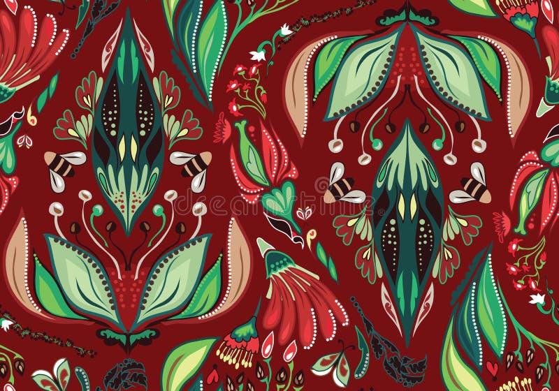 Autumn Flower Pattern sem emenda ilustração stock