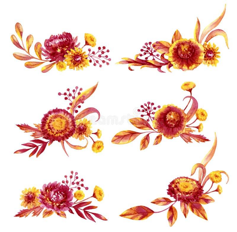 Autumn Flowers Bouquets Set stock illustrationer