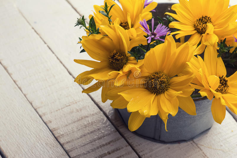 Autumn flowers in bowl royalty free stock photo