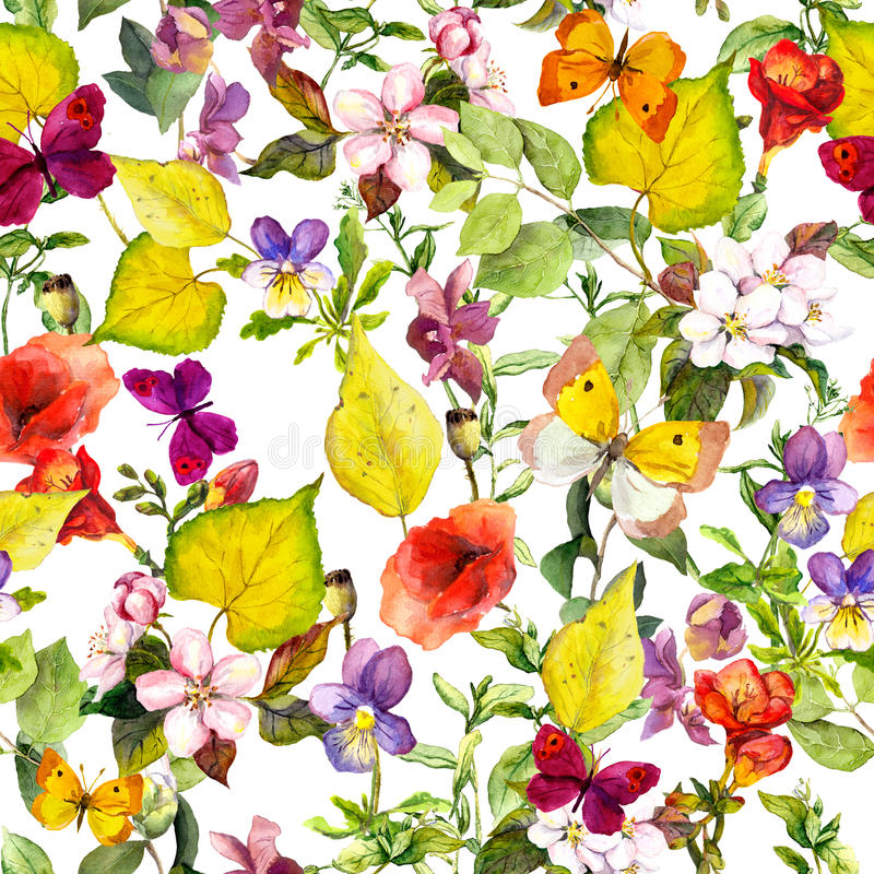 Autumn flowers, butterflies. Ditsy repeating floral pattern. Watercolor vector illustration