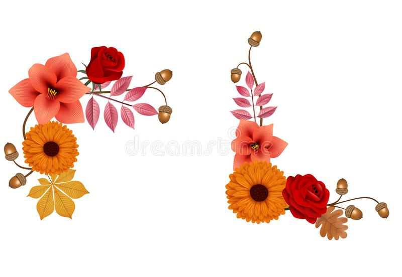 Autumnflowers and leaves decorative compositions. Autumn flowers and leaves decorative compositions vector additional format avaiable royalty free illustration