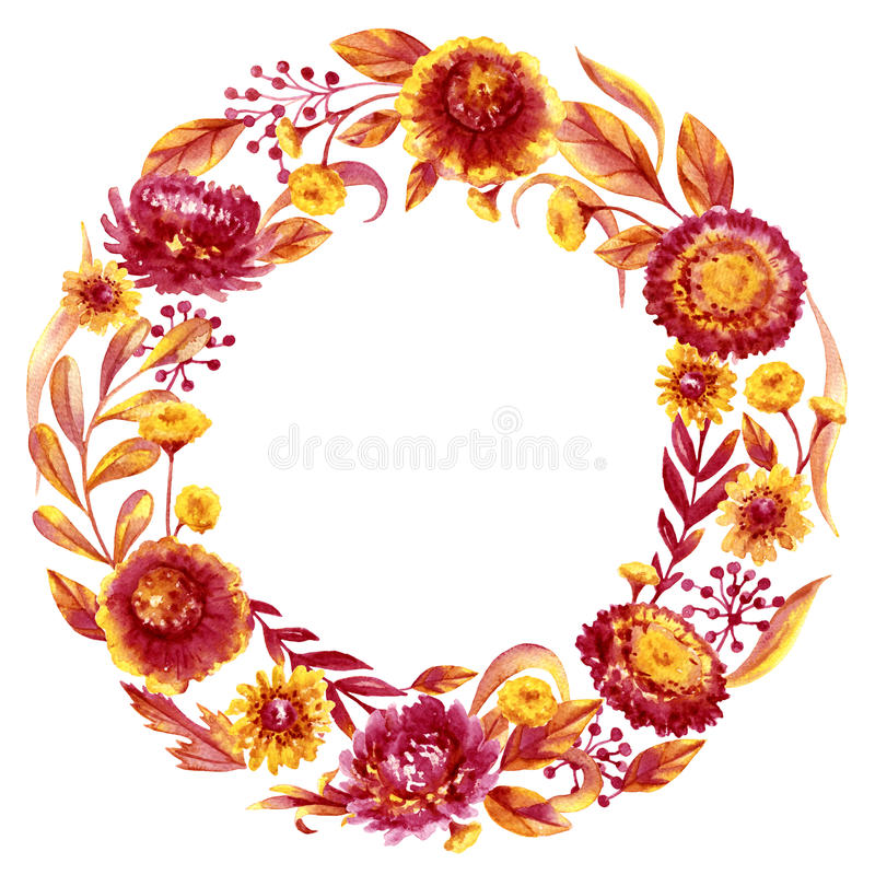 Autumn Flowers och sidaram stock illustrationer