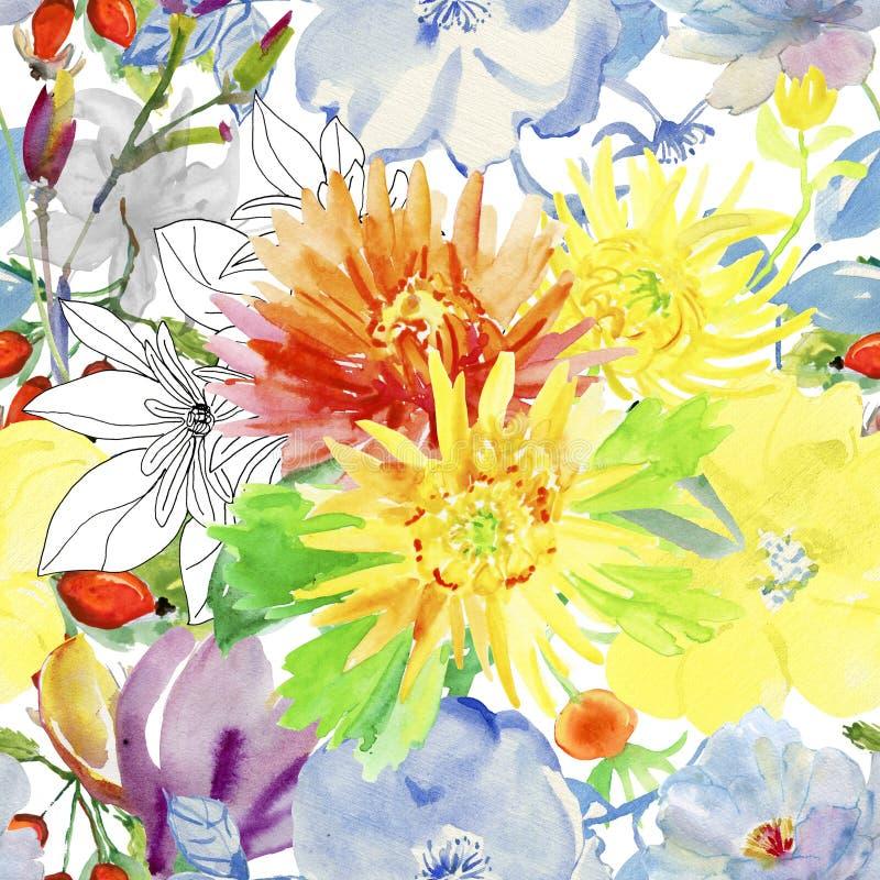 Autumn flowers Seamless Pattern royalty free illustration
