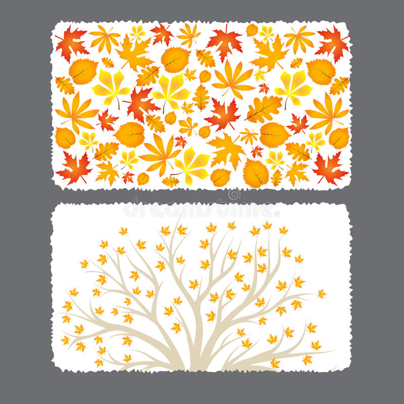 Autumn Flyer Template With Leaves Stock Vector Illustration Of