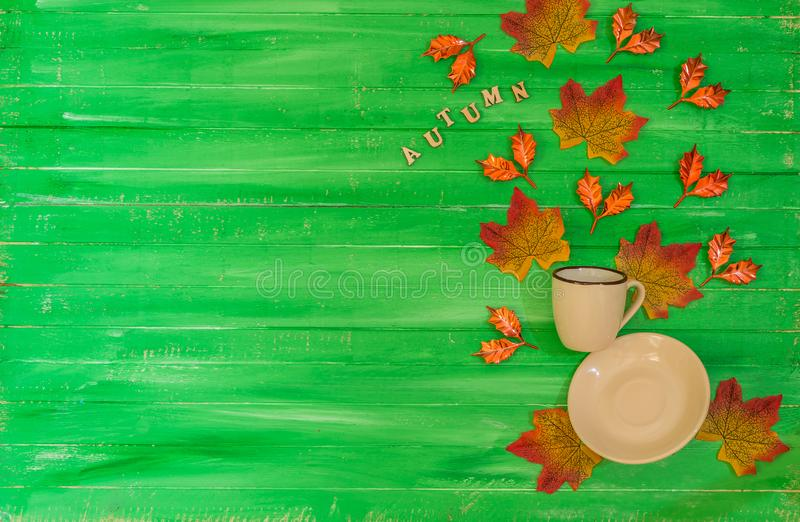 Autumn flying coffee cup Thanksgiving background. Levitation effect, flat lay, top view with copy space stock photo