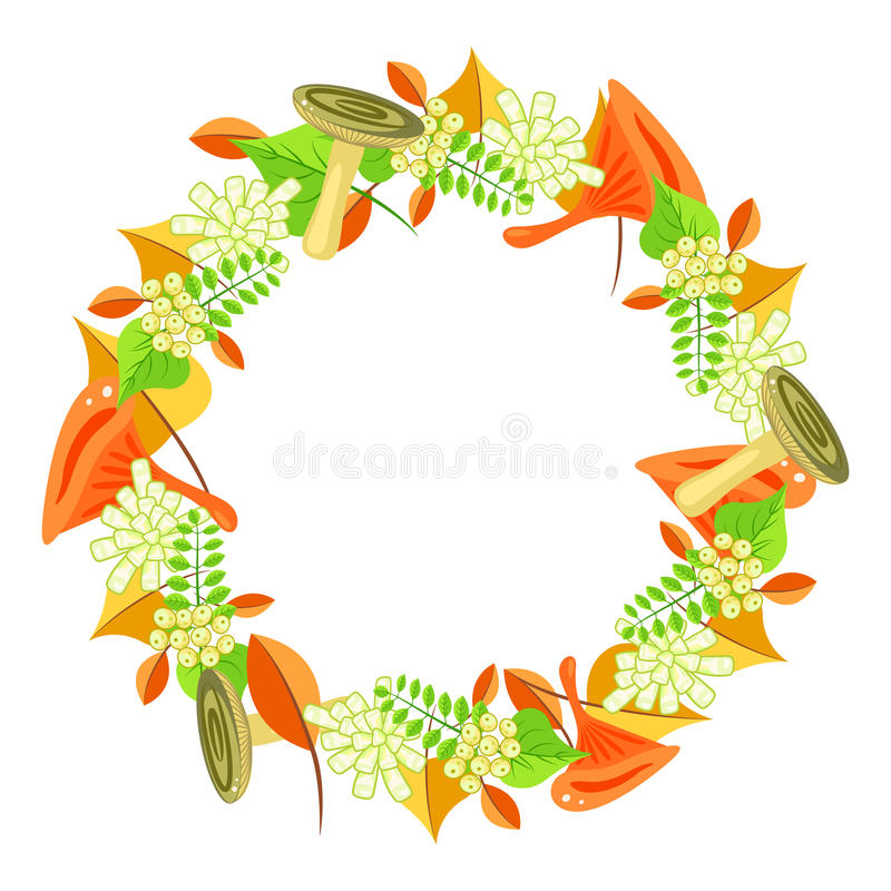 Autumn foliage bouquet wreath vector. stock illustration