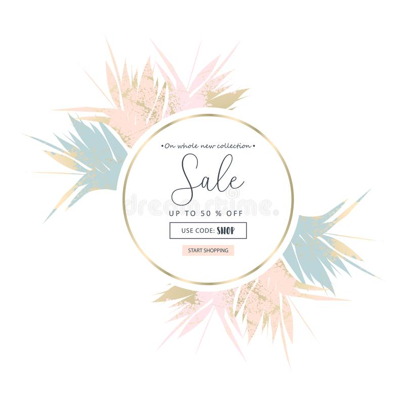 Autumn foliage collection gold blush chic background royalty free illustration
