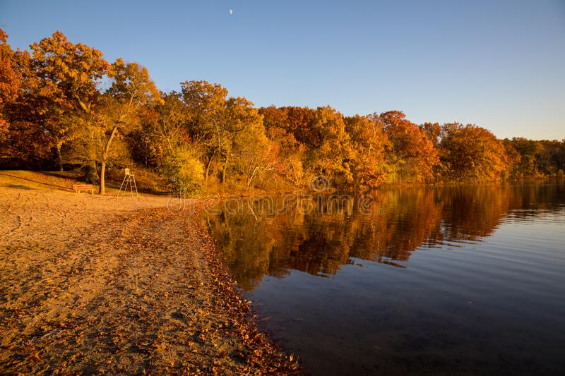 Autumn foliage on the lake. Autumn reflections of foliage in the lake, beautiful and sunny day in fall stock image