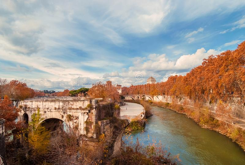 Autumn and foliage in Rome royalty free stock photo