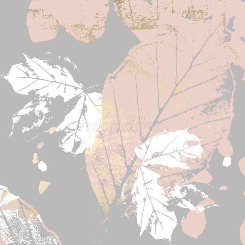 Autumn foliage rose gold blush background royalty free illustration