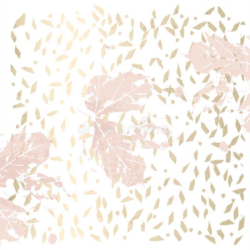 Autumn foliage rose gold blush trendy chic background stock illustration