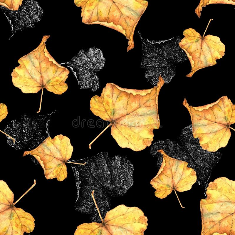 Autumn foliage 5. Seamless watercolor pattern. royalty free stock photo