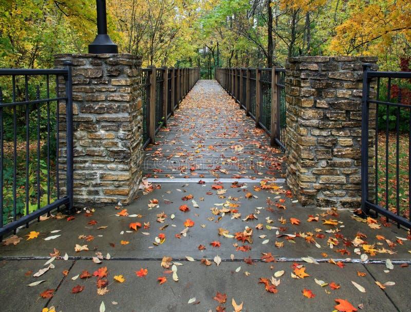 Autumn Foot Bridge stock images