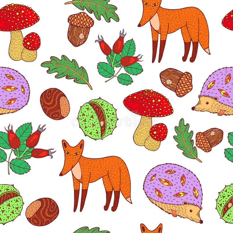 Autumn forest - animals and plants. Doodle hand drawn seamless pattern. Vector artwork stock illustration