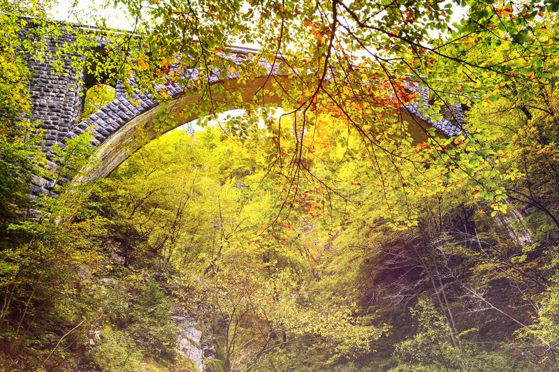 Autumn forest colors with old rocky train bridge in natural park of Vintgar. River gorge Slovenia royalty free stock image