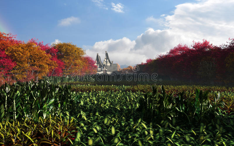 Download Autumn Forest Of Country Town Daytime Stock Illustration - Image: 39175535