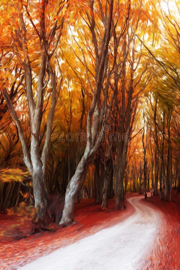 Autumn forest digital painting stock illustration