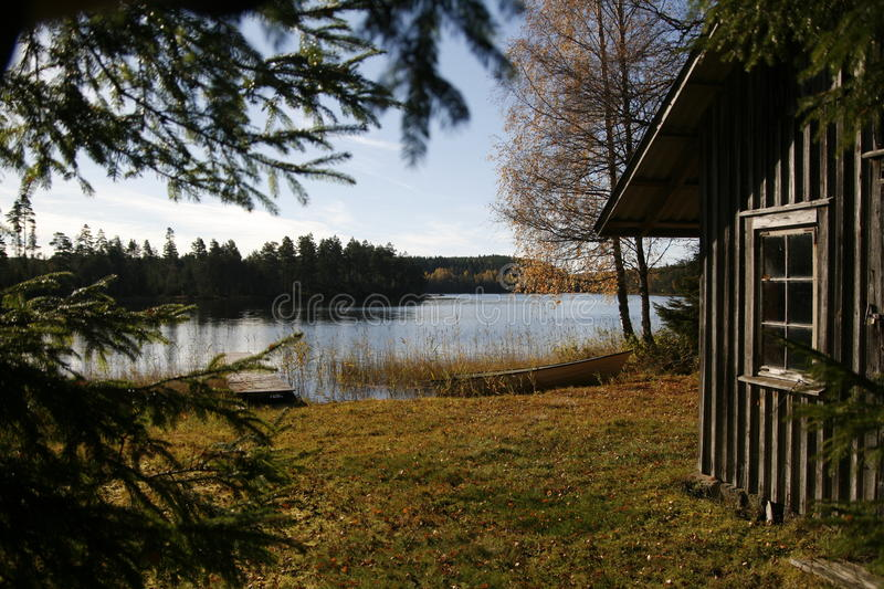 Autumn by the forest lake. stock photo