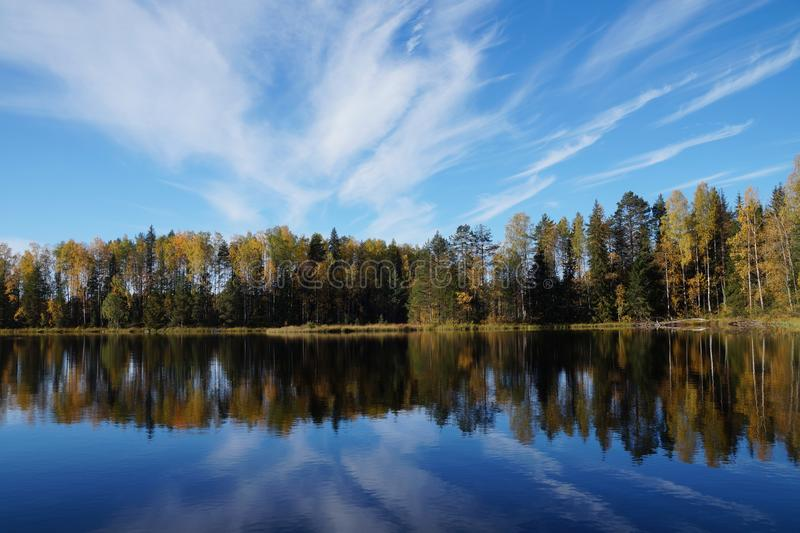 Autumn forest on the lake is reflected in the blue water. stock photo