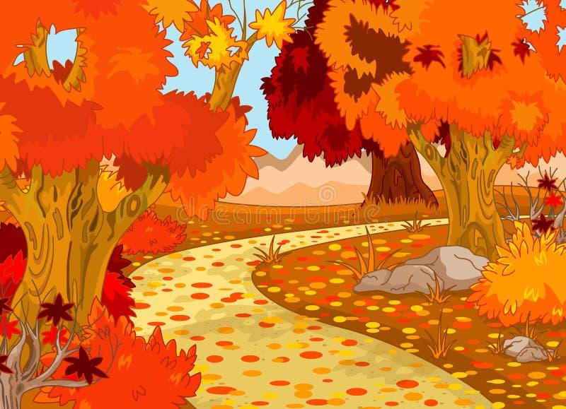 Autumn Forest Landscape. Illustration of Golden Autumn Forest Landscape stock illustration