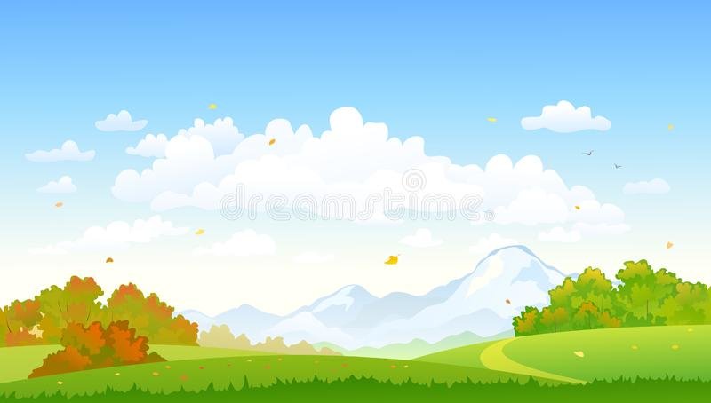 Autumn forest landscape nature background. Vector illustration of a colorful autumn forest at the mountains, nature background vector illustration