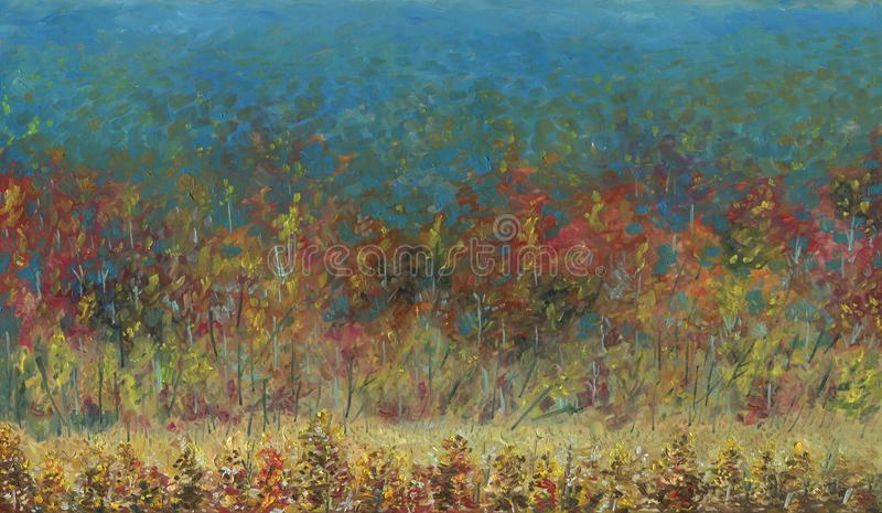 Autumn forest leaving into the distance. Oil painting. Autumn forest leaving into the distance. View from above. It`s a nasty day. In the foreground there is a royalty free stock image