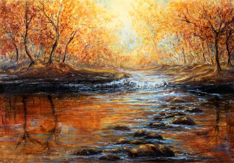 An Autumn forest. Original oil painting of beautiful autumn forest and river on canvas.Modern Impressionism, modernism,marinism stock photography